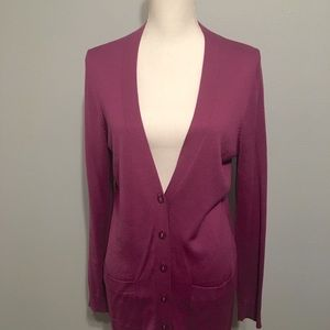 Ann Taylor Sweaters - Ann Taylor Large Berry Long Cardigan